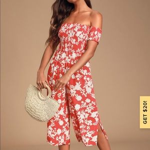 "Lulus ""summer nights"" red floral jumpsuit"
